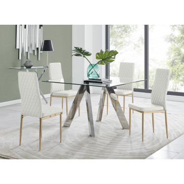 Lugano Square Dining Table And 4 Gold Leg Milan Chairs