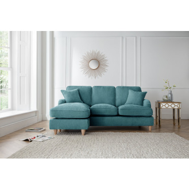 Piper Left Hand Chaise Lounge Sofa in Emerald Green