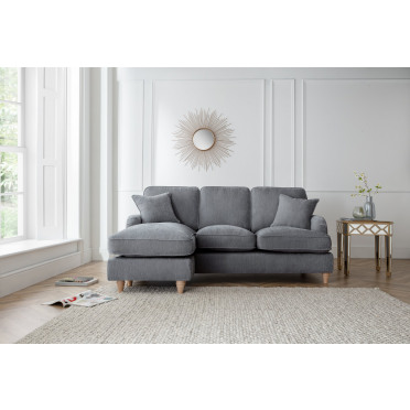 Piper Left Hand Chaise Lounge Sofa in Charcoal Grey