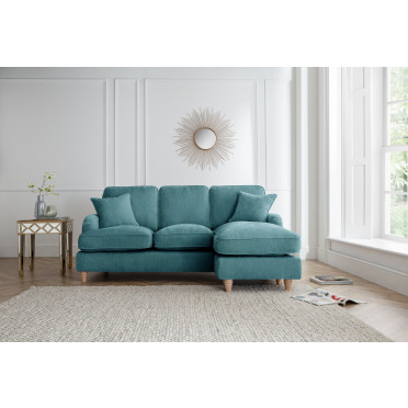 Piper Right Hand Chaise Lounge Sofa in Emerald Green