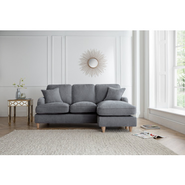Piper Right Hand Chaise Lounge Sofa in Charcoal Grey