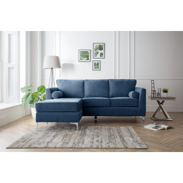 Vera Left Hand Chaise Lounge Sofa in Navy