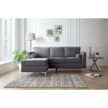 Vera Left Hand Chaise Lounge Sofa in Charcoal Grey