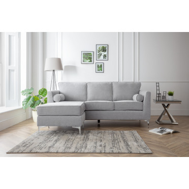 Vera Left Hand Chaise Lounge Sofa in Ice Grey