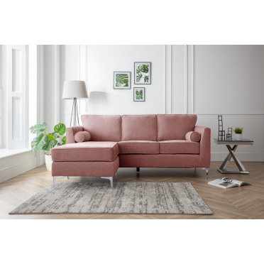 Vera Left Hand Chaise Lounge Sofa in Plum Pink