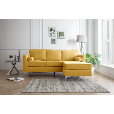 Vera Right Hand Chaise Lounge Sofa in Yellow