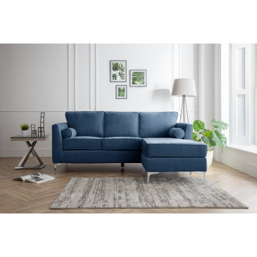 Vera Right Hand Chaise Lounge Sofa in Navy