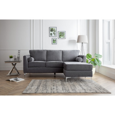 Vera Right Hand Chaise Lounge Sofa in Charcoal Grey