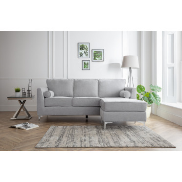 Vera Right Hand Chaise Lounge Sofa in Ice Grey