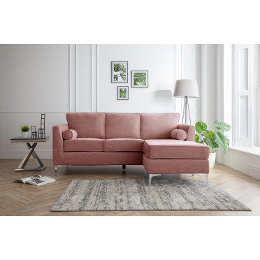Vera Right Hand Chaise Lounge Sofa in Plum Pink