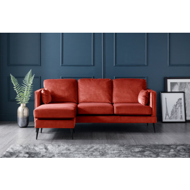 Olive Left Hand Chaise Lounge Sofa in Apricot Orange