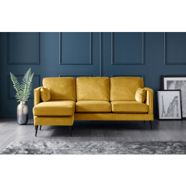 Olive Left Hand Chaise Lounge Sofa in Yellow