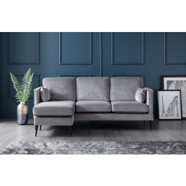 Olive Left Hand Chaise Lounge Sofa in Grey