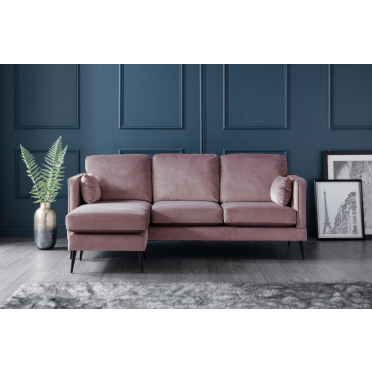 Olive Left Hand Chaise Lounge Sofa in Lavender