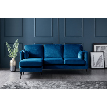 Olive Left Hand Chaise Lounge Sofa in Navy