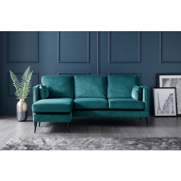 Olive Left Hand Chaise Lounge Sofa in Peacock Teal