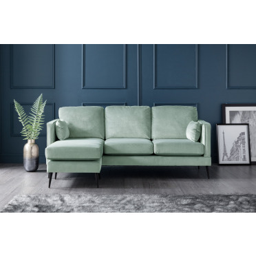 Olive Left Hand Chaise Lounge Sofa in Seaspray Blue