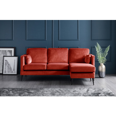 Olive Right Hand Chaise Lounge Sofa in Apricot Orange