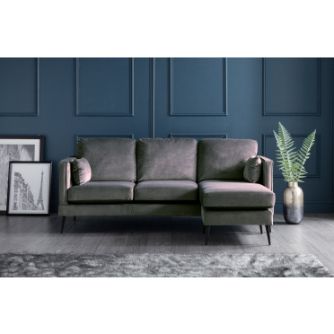 Olive Right Hand Chaise Lounge Sofa in Cosmic