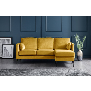 Olive Right Hand Chaise Lounge Sofa in Yellow