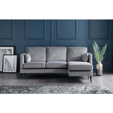 Olive Right Hand Chaise Lounge Sofa in Grey