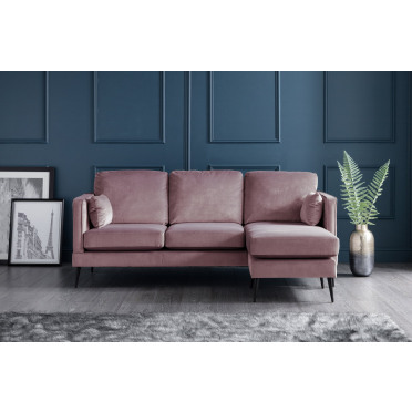 Olive Right Hand Chaise Lounge Sofa in Lavender