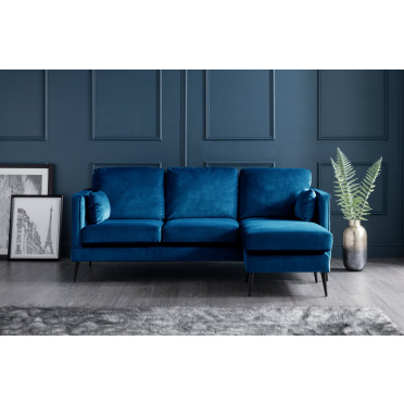 Olive Right Hand Chaise Lounge Sofa in Navy