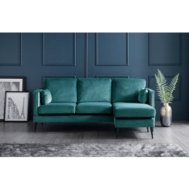 Olive Right Hand Chaise Lounge Sofa in Peacock Teal