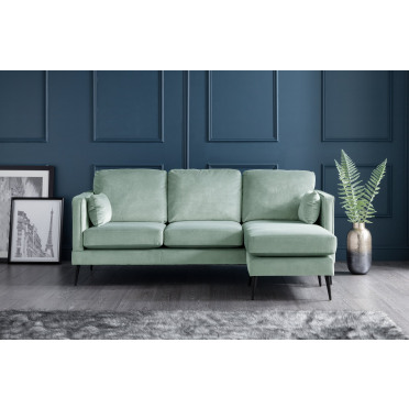 Olive Right Hand Chaise Lounge Sofa in Seaspray Blue