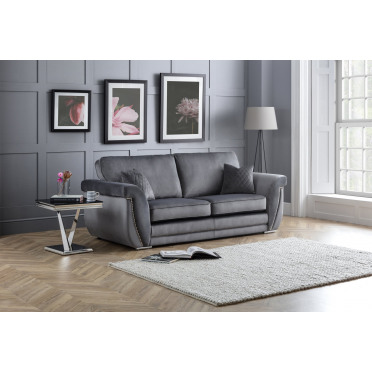 Marlena 3 Seater Sofa Fitted Back in Plush Grey
