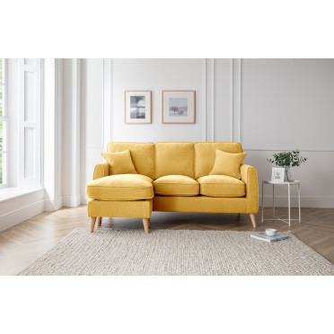 Hilda Left Hand Chaise Lounge Sofa in Yellow