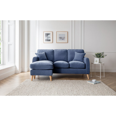 Hilda Left Hand Chaise Lounge Sofa in Navy