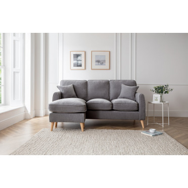 Hilda Left Hand Chaise Lounge Sofa in Charcoal Grey
