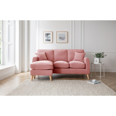 Hilda Left Hand Chaise Lounge Sofa in Plum Pink