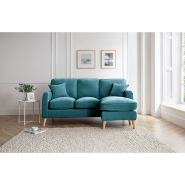 Hilda Right Hand Chaise Lounge Sofa in Emerald Green