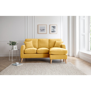 Hilda Right Hand Chaise Lounge Sofa in Yellow