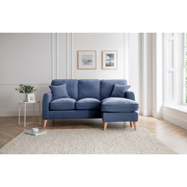 Hilda Right Hand Chaise Lounge Sofa in Navy