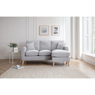 Hilda Right Hand Chaise Lounge Sofa in Ice Grey