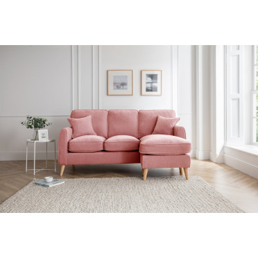 Hilda Right Hand Chaise Lounge Sofa in Plum Pink