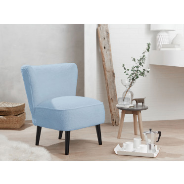 Malmesbury Boucle Accent chair Woolly Sky Blue with Black Legs
