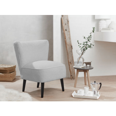 Malmesbury Boucle Accent chair Woolly Light Grey with Black Legs