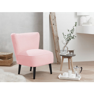 Malmesbury Boucle Accent chair Woolly Baby Pink with Black Legs