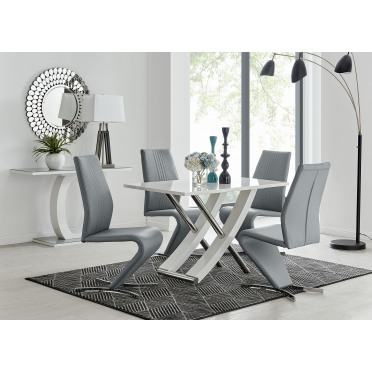 Mayfair 4 White High Gloss And Stainless Steel Dining Table And 4 Luxury Willow Chairs Set