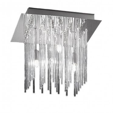 Meteor Square Chrome and Crystal Ceiling Light - 4 Lights