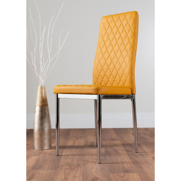 6x Milan Mustard Yellow Chrome Hatched Faux Leather Dining Chairs