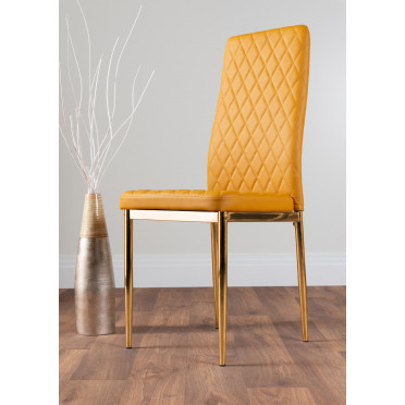 6x Milan Mustard Yellow Gold Hatched Faux Leather Dining Chairs
