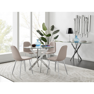 Novara Chrome Metal 100cm Round Glass Dining Table And 4 Corona Silver Dining Chairs