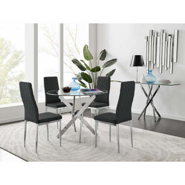 Novara Chrome Metal And Glass 100cm Round Dining Table And 4 Milan Dining Chairs Set