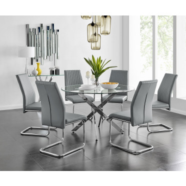 Novara Chrome Metal And Glass Large 120cm Round Dining Table And 4 or 6 Lorenzo Chairs Set