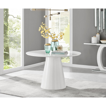 Palma White High Gloss Round Dining Table